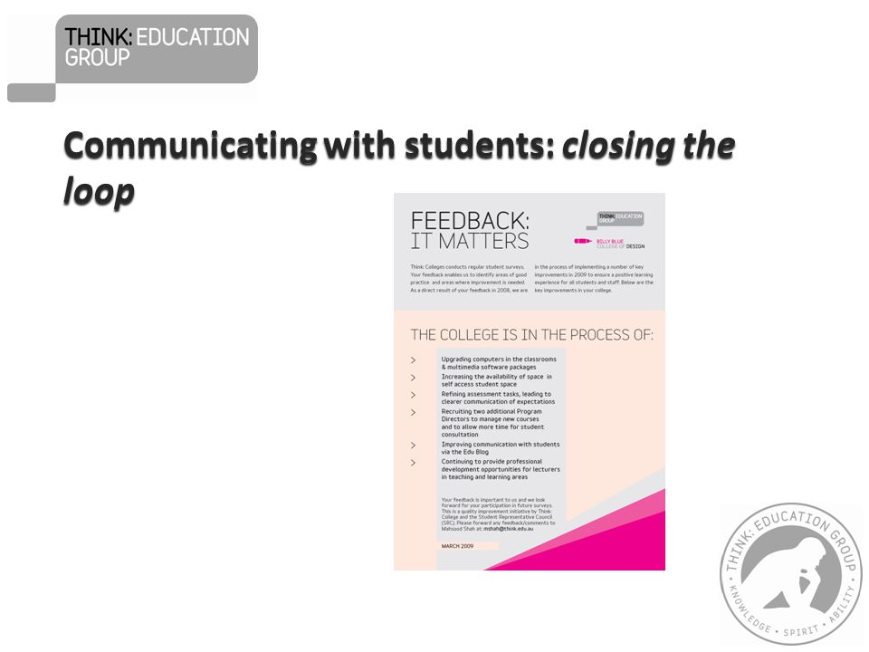Communicating with students: closing the loop