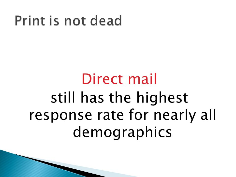 Direct mail still has the highest response rate for nearly all demographics