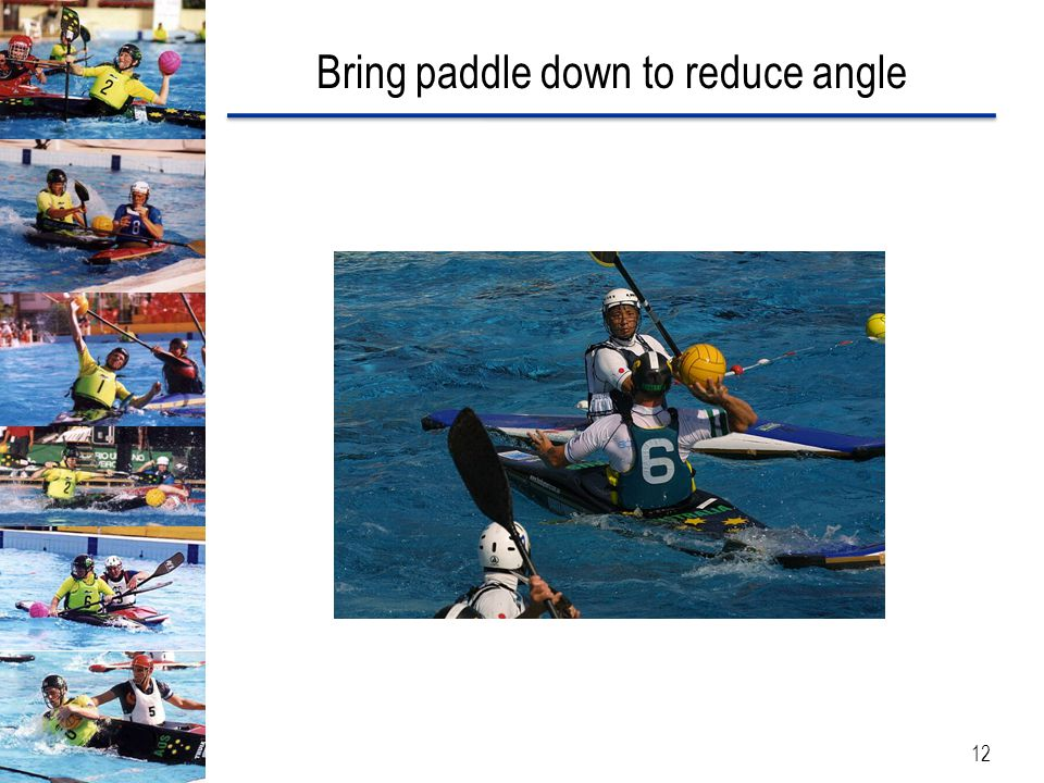 Bring paddle down to reduce angle 12