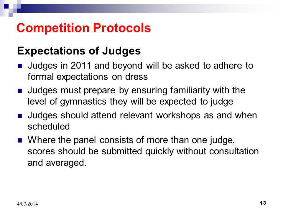 13 4/09/2014 Expectations of Judges Judges in 2011 and beyond will be asked to adhere to formal expectations on dress Judges must prepare by ensuring familiarity with the level of gymnastics they will be expected to judge Judges should attend relevant workshops as and when scheduled Where the panel consists of more than one judge, scores should be submitted quickly without consultation and averaged.