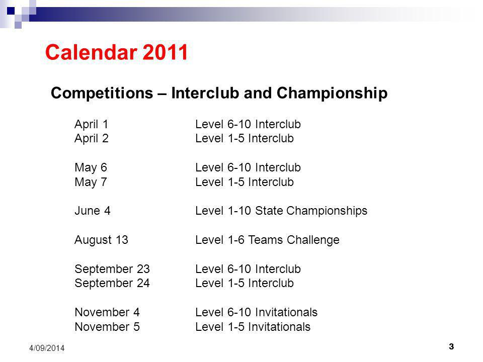 3 4/09/2014 Calendar 2011 Competitions – Interclub and Championship April 1Level 6-10 Interclub April 2Level 1-5 Interclub May 6Level 6-10 Interclub May 7Level 1-5 Interclub June 4Level 1-10 State Championships August 13Level 1-6 Teams Challenge September 23Level 6-10 Interclub September 24Level 1-5 Interclub November 4 Level 6-10 Invitationals November 5Level 1-5 Invitationals