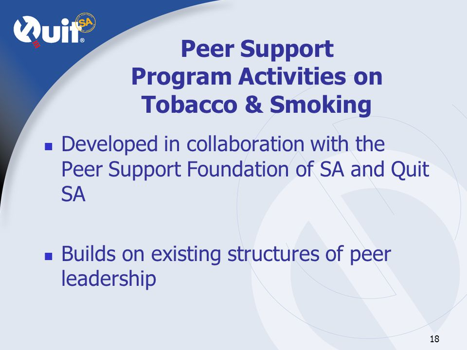 18 Peer Support Program Activities on Tobacco & Smoking Developed in collaboration with the Peer Support Foundation of SA and Quit SA Builds on existing structures of peer leadership