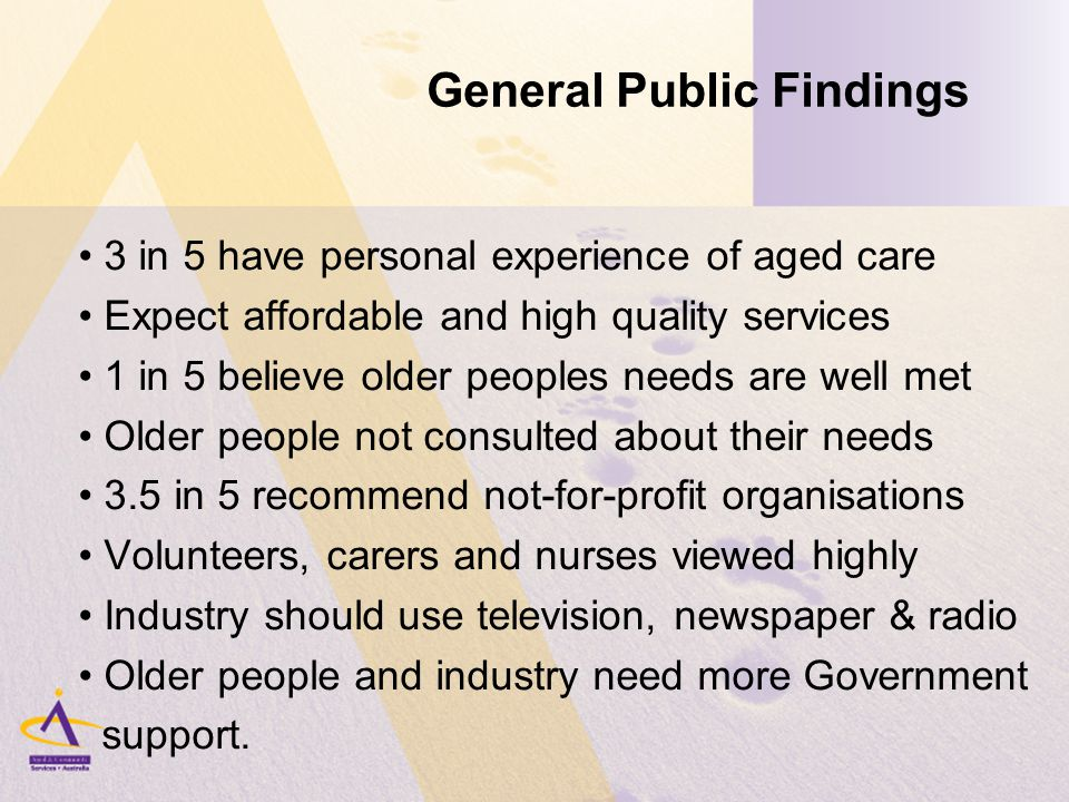 General Public Findings 3 in 5 have personal experience of aged care Expect affordable and high quality services 1 in 5 believe older peoples needs are well met Older people not consulted about their needs 3.5 in 5 recommend not-for-profit organisations Volunteers, carers and nurses viewed highly Industry should use television, newspaper & radio Older people and industry need more Government support.