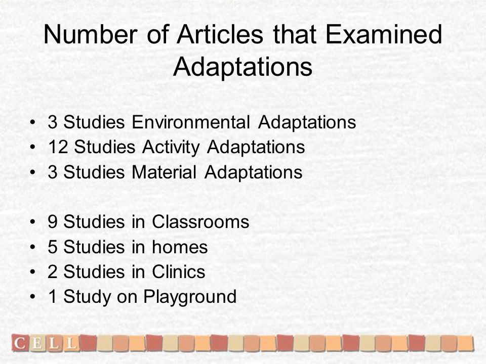 Number of Articles that Examined Adaptations 3 Studies Environmental Adaptations 12 Studies Activity Adaptations 3 Studies Material Adaptations 9 Studies in Classrooms 5 Studies in homes 2 Studies in Clinics 1 Study on Playground