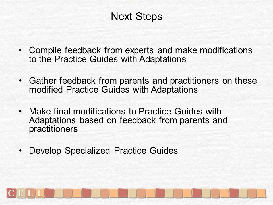 Next Steps Compile feedback from experts and make modifications to the Practice Guides with Adaptations Gather feedback from parents and practitioners on these modified Practice Guides with Adaptations Make final modifications to Practice Guides with Adaptations based on feedback from parents and practitioners Develop Specialized Practice Guides