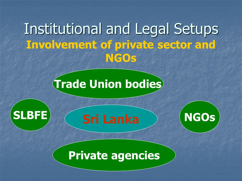 Institutional and Legal Setups Involvement of private sector and NGOs Sri Lanka Trade Union bodies SLBFE Private agencies NGOs