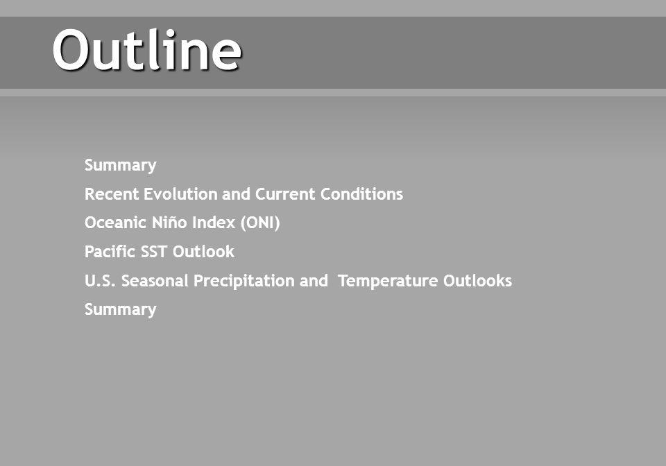 Outline Summary Recent Evolution and Current Conditions Oceanic Niño Index (ONI) Pacific SST Outlook U.S.