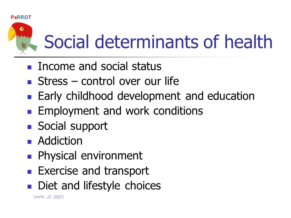PaRROT Social determinants of health Income and social status Stress – control over our life Early childhood development and education Employment and work conditions Social support Addiction Physical environment Exercise and transport Diet and lifestyle choices Smith, JD (2007 )