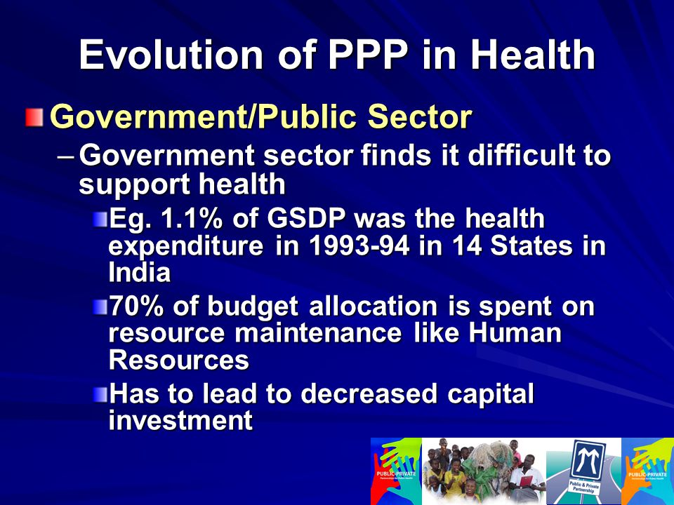 Evolution of PPP in Health Government/Public Sector –Government sector finds it difficult to support health Eg.