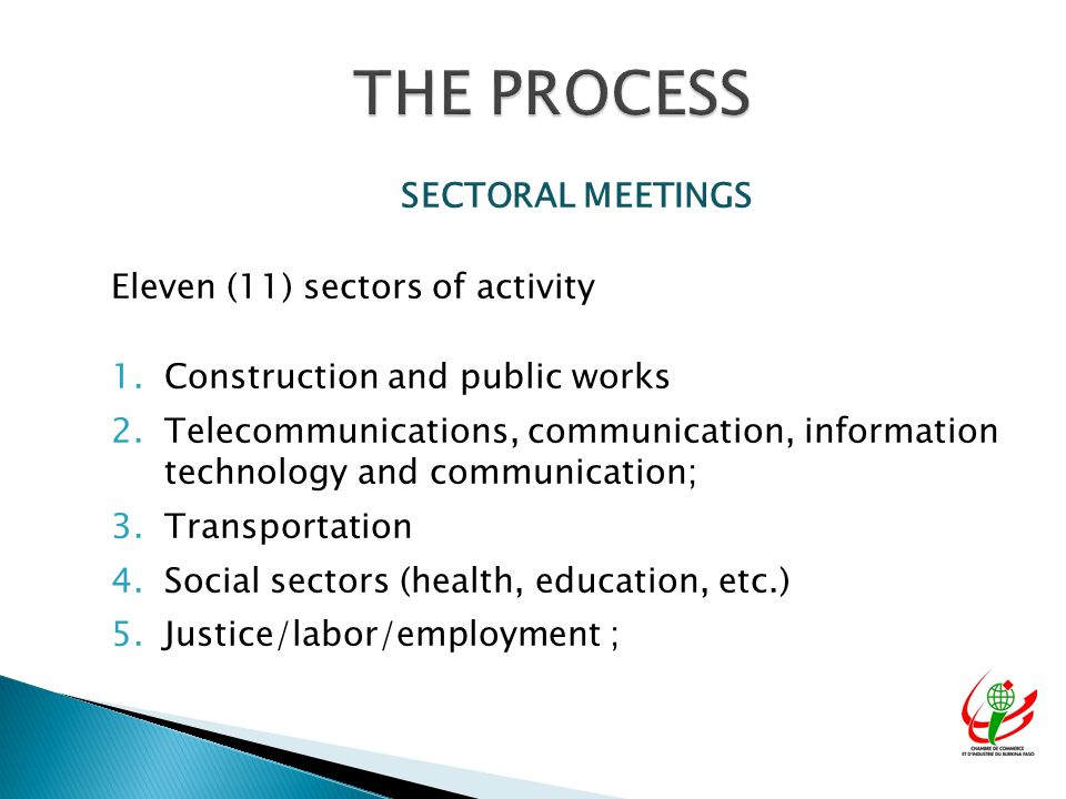 SECTORAL MEETINGS Eleven (11) sectors of activity 1.Construction and public works 2.Telecommunications, communication, information technology and communication; 3.Transportation 4.Social sectors (health, education, etc.) 5.Justice/labor/employment ;