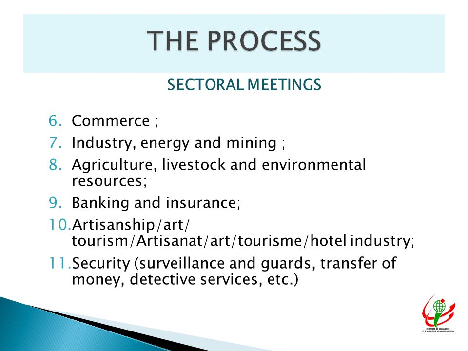 SECTORAL MEETINGS 6.Commerce ; 7.Industry, energy and mining ; 8.Agriculture, livestock and environmental resources; 9.Banking and insurance; 10.Artisanship/art/ tourism/Artisanat/art/tourisme/hotel industry; 11.Security (surveillance and guards, transfer of money, detective services, etc.)