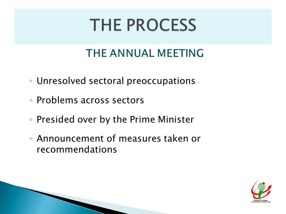 THE ANNUAL MEETING ◦ Unresolved sectoral preoccupations ◦ Problems across sectors ◦ Presided over by the Prime Minister ◦ Announcement of measures taken or recommendations