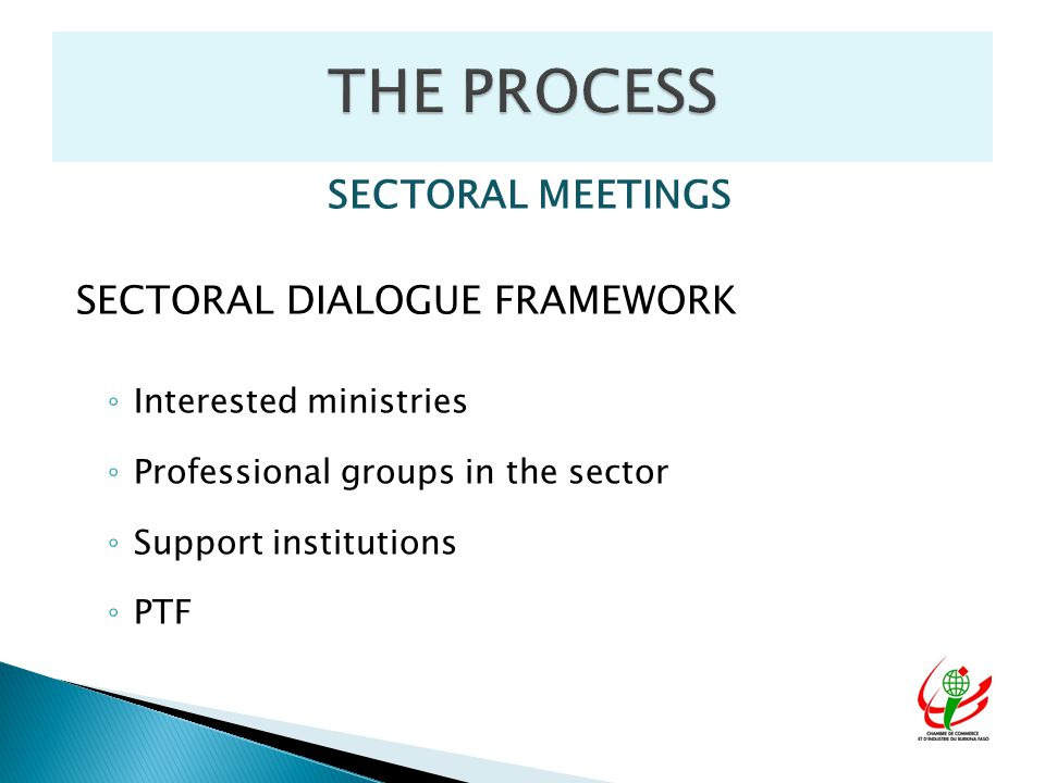 SECTORAL MEETINGS SECTORAL DIALOGUE FRAMEWORK ◦ Interested ministries ◦ Professional groups in the sector ◦ Support institutions ◦ PTF