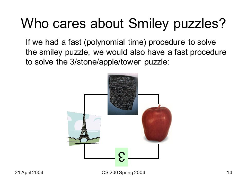 21 April 2004CS 200 Spring 200414 Who cares about Smiley puzzles.