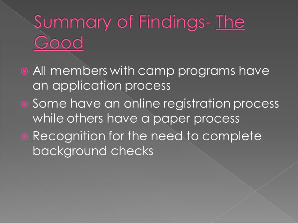  All members with camp programs have an application process  Some have an online registration process while others have a paper process  Recognition for the need to complete background checks