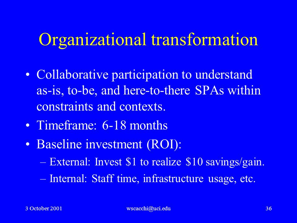 3 October 2001wscacchi@uci.edu36 Organizational transformation Collaborative participation to understand as-is, to-be, and here-to-there SPAs within constraints and contexts.