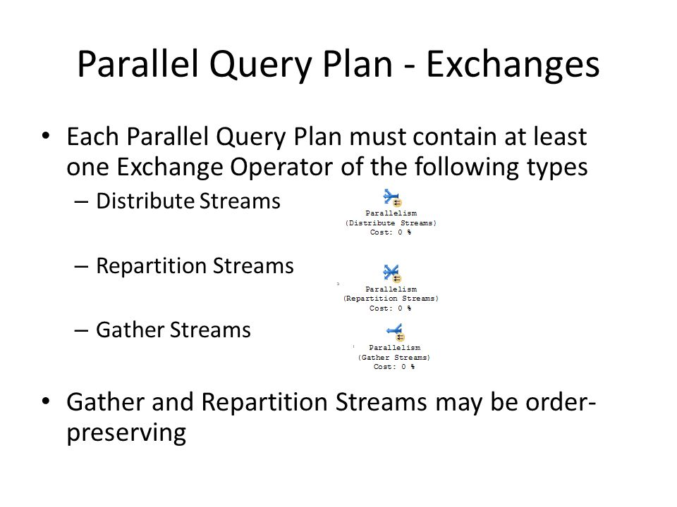 Parallel Query Plan - Exchanges Each Parallel Query Plan must contain at least one Exchange Operator of the following types – Distribute Streams – Repartition Streams – Gather Streams Gather and Repartition Streams may be order- preserving