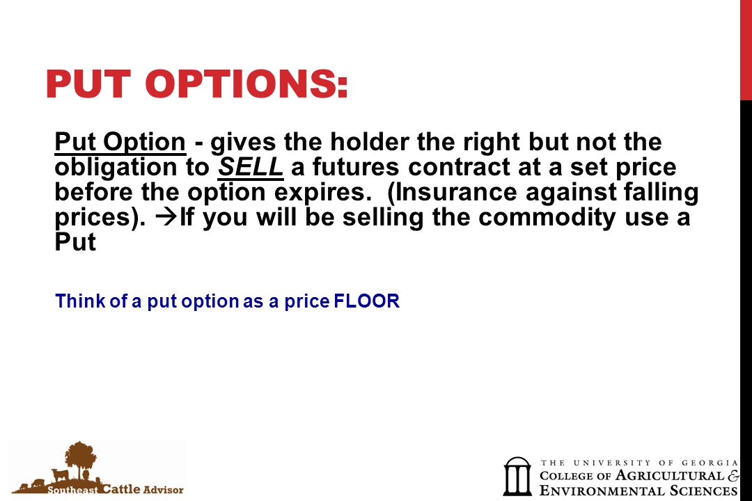 PUT OPTIONS: Put Option - gives the holder the right but not the obligation to SELL a futures contract at a set price before the option expires.