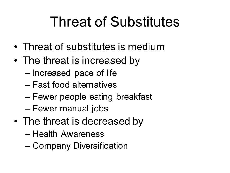Threat of Substitutes Threat of substitutes is medium The threat is increased by –Increased pace of life –Fast food alternatives –Fewer people eating breakfast –Fewer manual jobs The threat is decreased by –Health Awareness –Company Diversification
