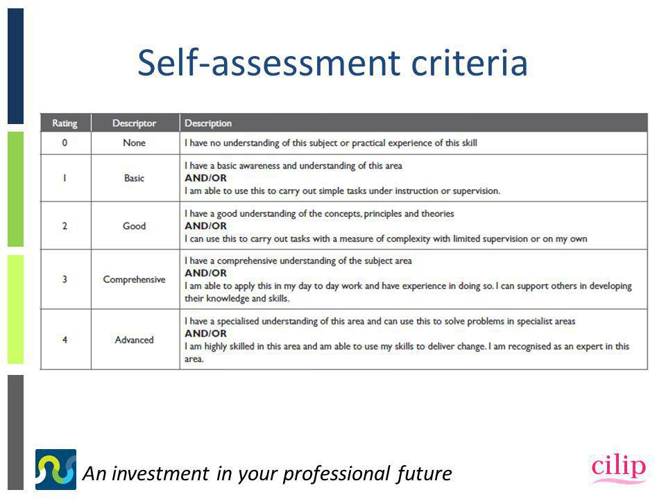 An investment in your professional future Self-assessment criteria