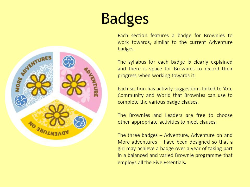 Badges Each section features a badge for Brownies to work towards, similar to the current Adventure badges.