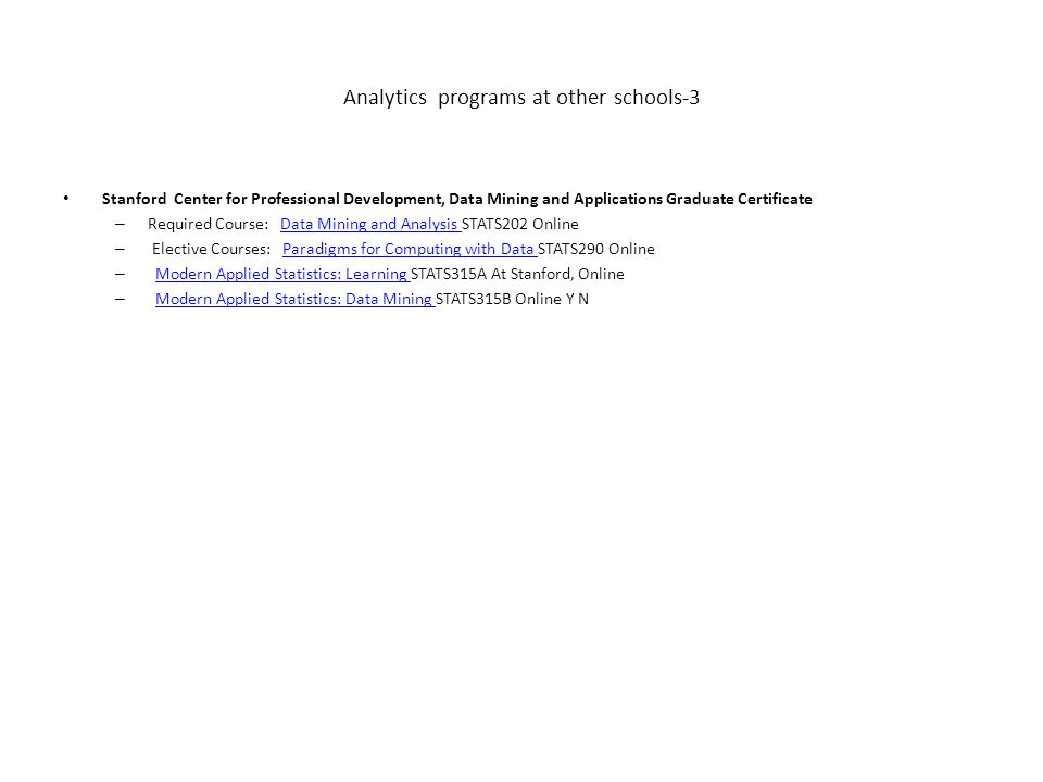 Analytics programs at other schools-1 Advanced Business Certificate ...