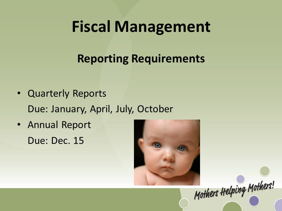 Fiscal Management Reporting Requirements Quarterly Reports Due: January, April, July, October Annual Report Due: Dec.