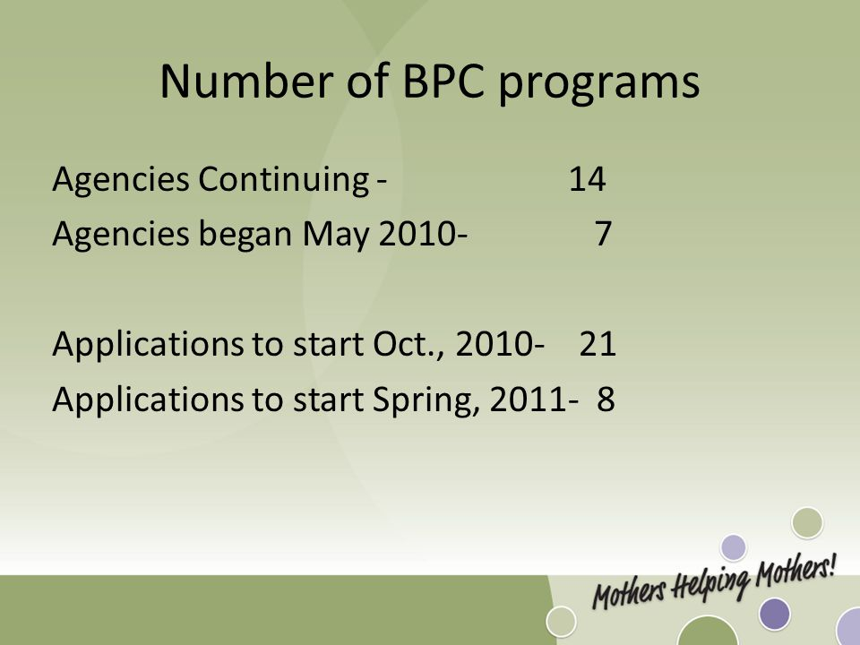 Number of BPC programs Agencies Continuing - 14 Agencies began May 2010- 7 Applications to start Oct., 2010- 21 Applications to start Spring, 2011- 8