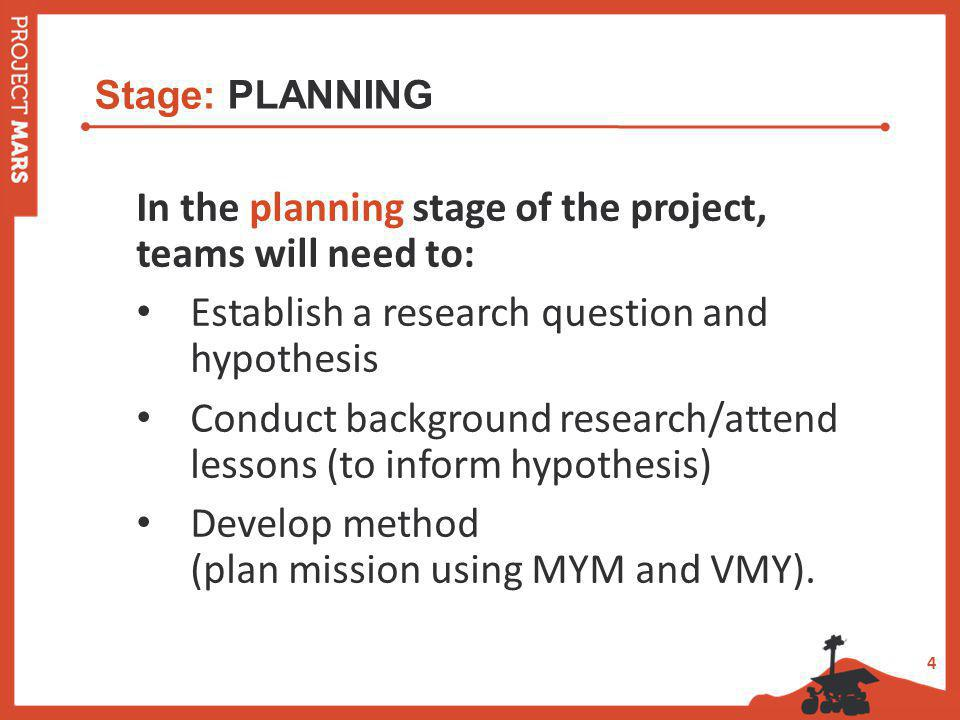 4 Stage: PLANNING In the planning stage of the project, teams will need to: Establish a research question and hypothesis Conduct background research/attend lessons (to inform hypothesis) Develop method (plan mission using MYM and VMY).