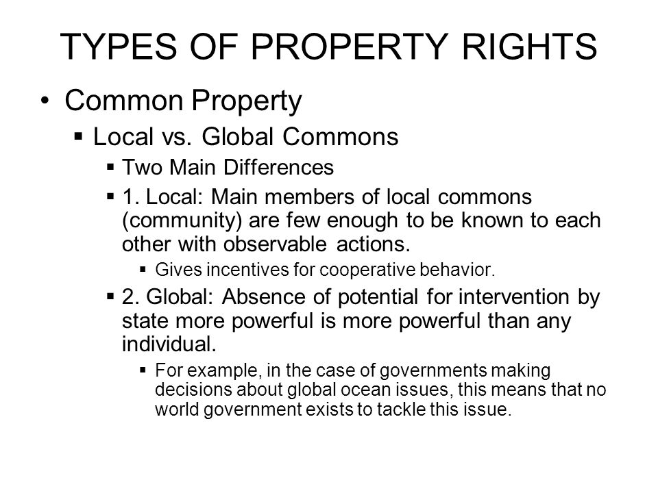 TYPES OF PROPERTY RIGHTS Common Property  Local vs.