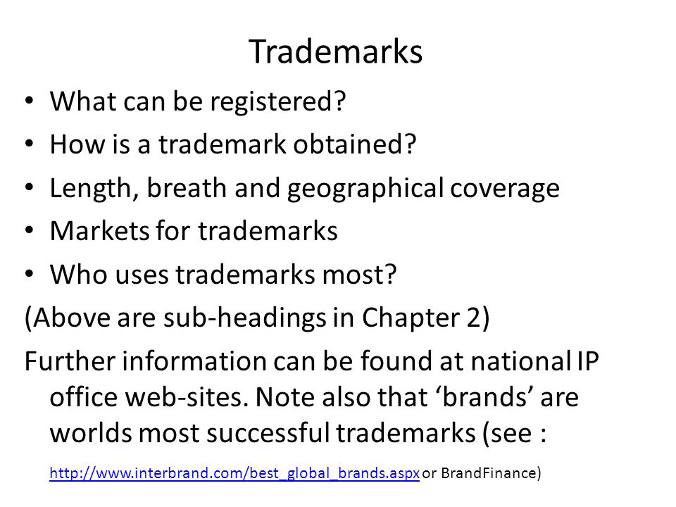 Trademarks What can be registered. How is a trademark obtained.