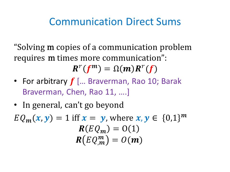 Communication Direct Sums