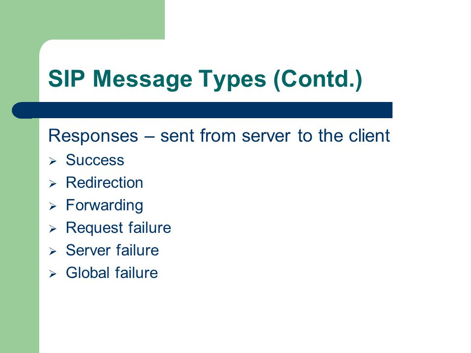 SIP Message Types (Contd.) Responses – sent from server to the client  Success  Redirection  Forwarding  Request failure  Server failure  Global failure