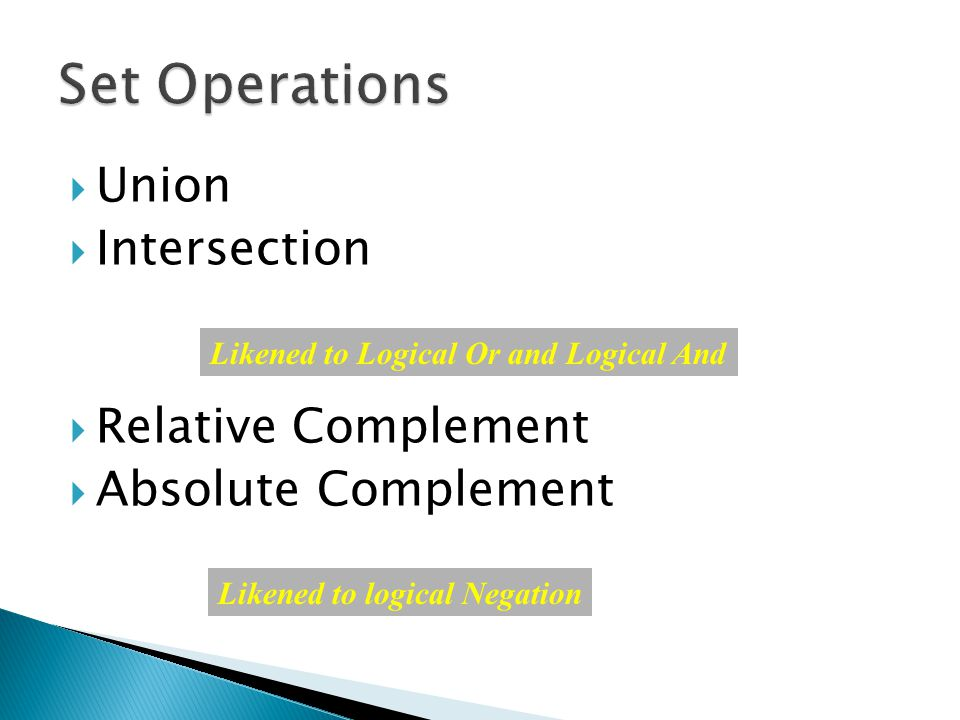  Union  Intersection  Relative Complement  Absolute Complement Likened to Logical Or and Logical And Likened to logical Negation