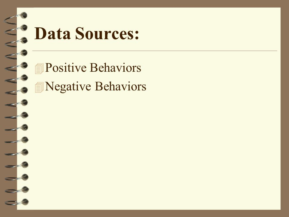 Data Sources: 4 Positive Behaviors 4 Negative Behaviors