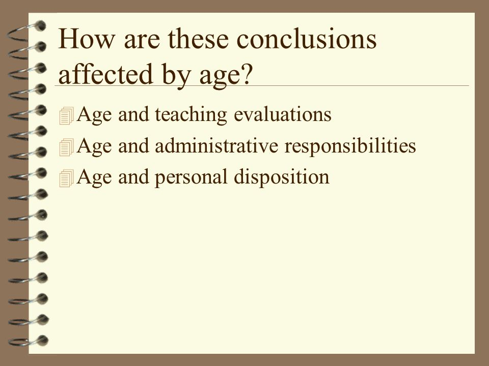How are these conclusions affected by age.