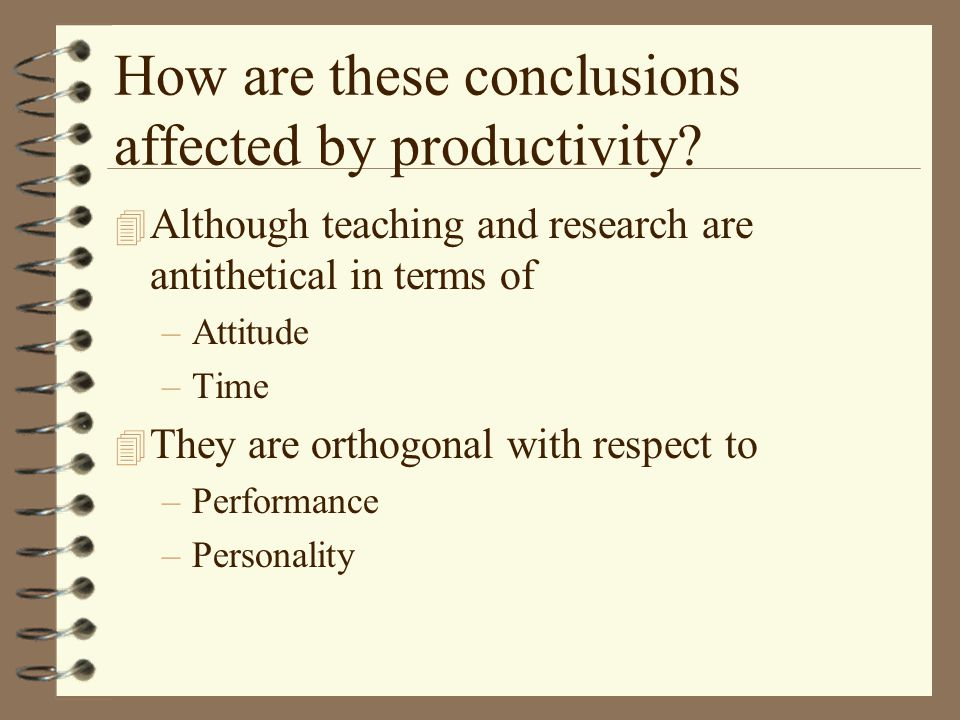 How are these conclusions affected by productivity.