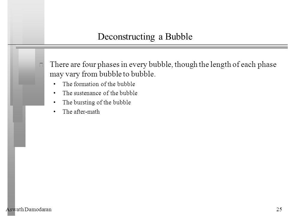 Aswath Damodaran25 Deconstructing a Bubble There are four phases in every bubble, though the length of each phase may vary from bubble to bubble.