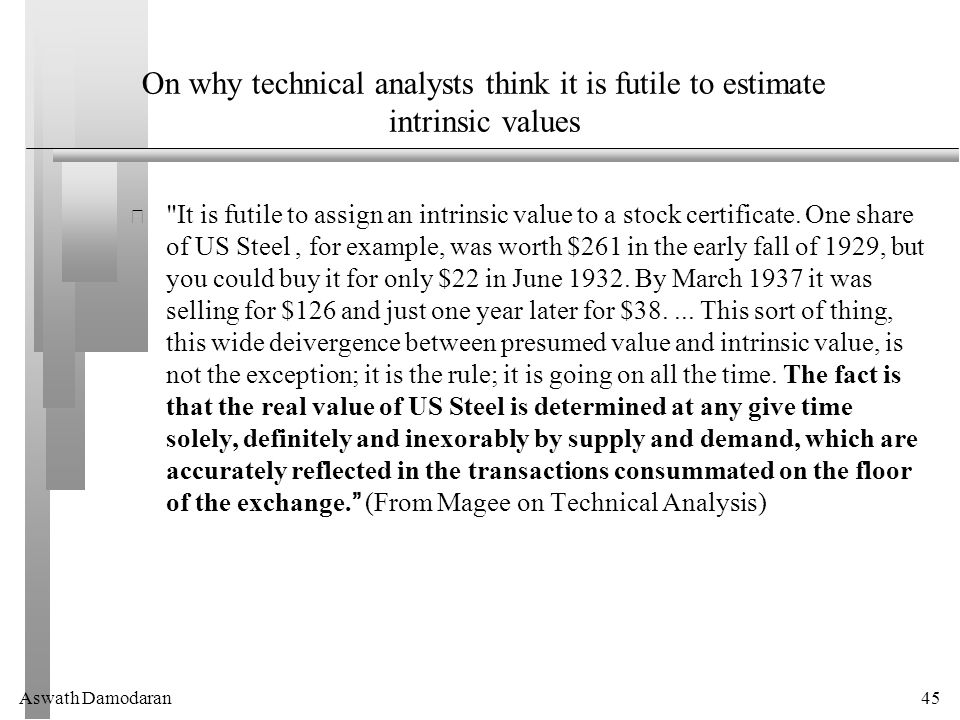 Aswath Damodaran45 On why technical analysts think it is futile to estimate intrinsic values It is futile to assign an intrinsic value to a stock certificate.