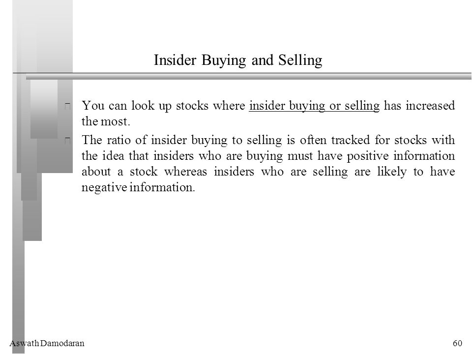Aswath Damodaran60 Insider Buying and Selling You can look up stocks where insider buying or selling has increased the most.