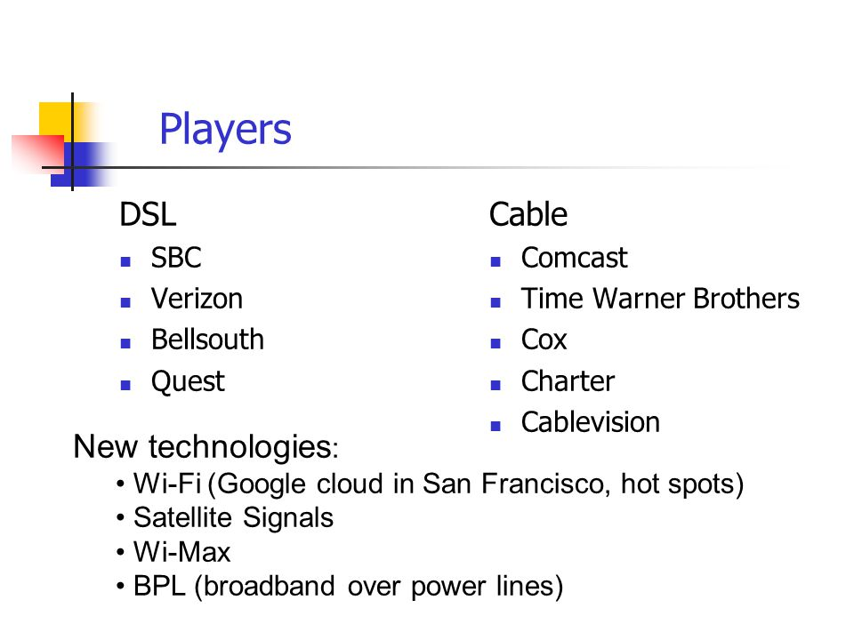 Players DSL SBC Verizon Bellsouth Quest Cable Comcast Time Warner Brothers Cox Charter Cablevision New technologies : Wi-Fi (Google cloud in San Francisco, hot spots) Satellite Signals Wi-Max BPL (broadband over power lines)