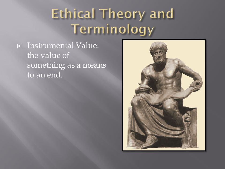 Instrumental Value: the value of something as a means to an end.