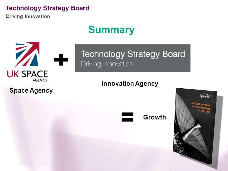 Driving Innovation Summary Space Agency Innovation Agency Growth
