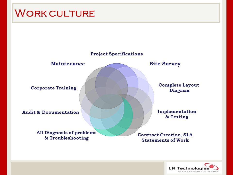 Work culture Project Specifications Site Survey Complete Layout Diagram Implementation & Testing Contract Creation, SLA Statements of Work All Diagnosis of problems & Troubleshooting Audit & Documentation Corporate Training Maintenance