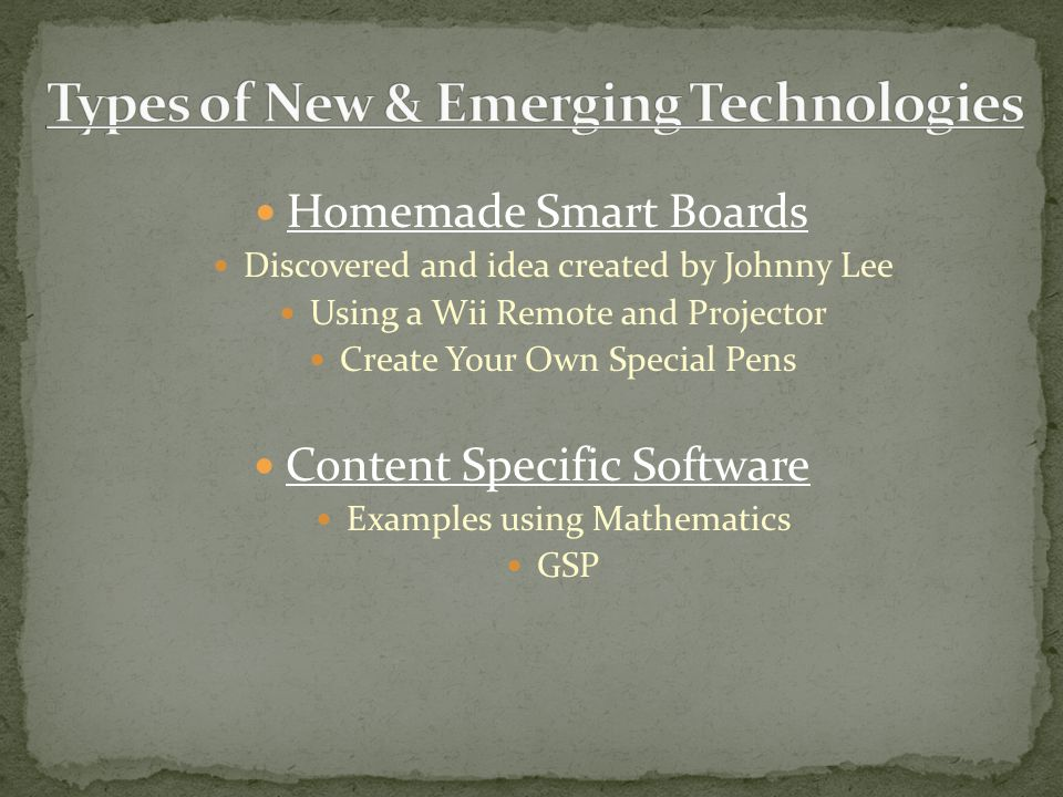 Homemade Smart Boards Discovered and idea created by Johnny Lee Using a Wii Remote and Projector Create Your Own Special Pens Content Specific Software Examples using Mathematics GSP