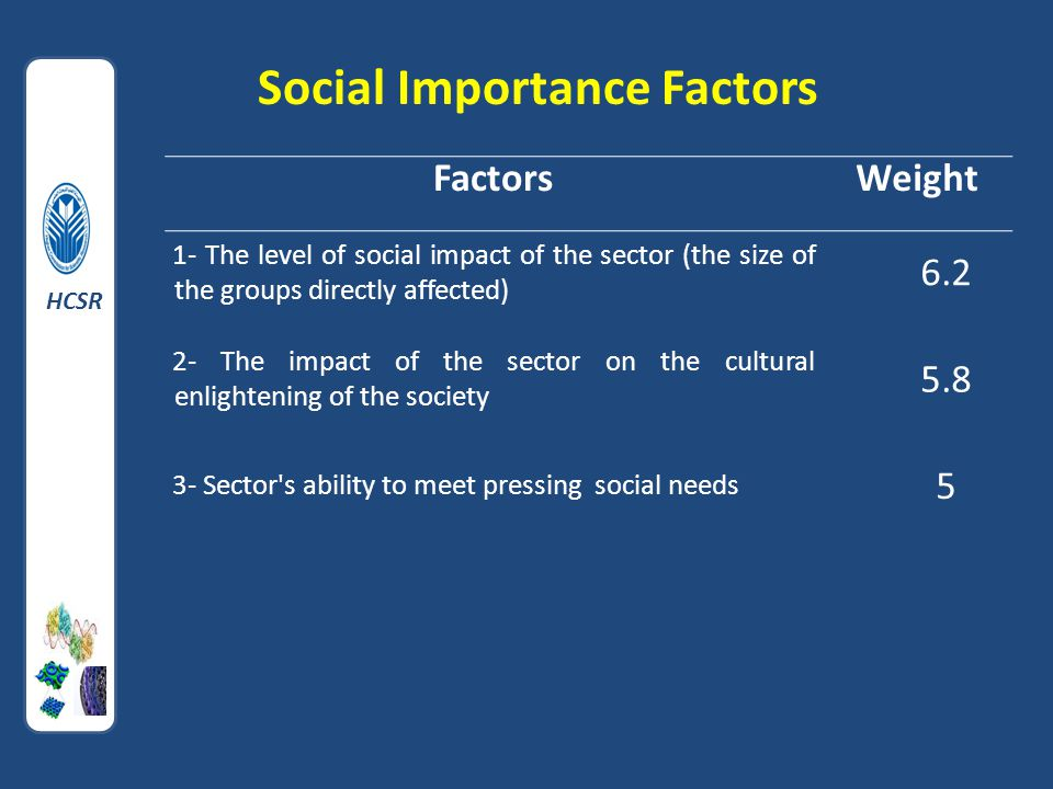 Social Importance Factors FactorsWeight 1- The level of social impact of the sector (the size of the groups directly affected) 6.2 2- The impact of the sector on the cultural enlightening of the society 5.8 3- Sector s ability to meet pressing social needs 5 HCSR
