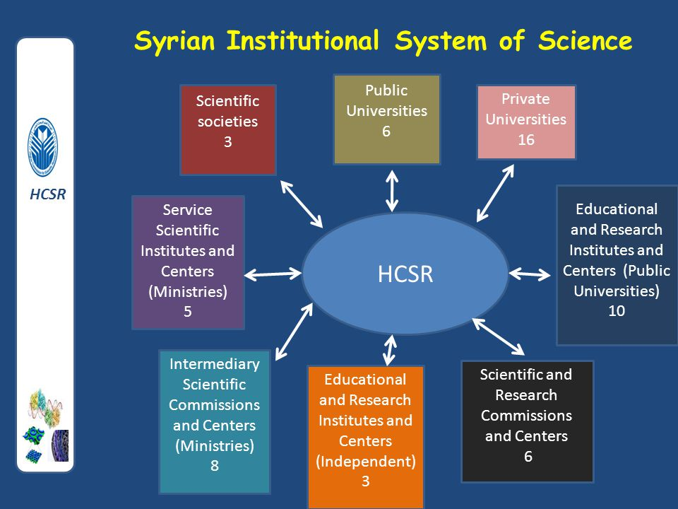 Syrian Institutional System of Science HCSR Public Universities 6 Private Universities 16 Educational and Research Institutes and Centers (Public Universities) 10 Scientific and Research Commissions and Centers 6 Educational and Research Institutes and Centers (Independent) 3 Intermediary Scientific Commissions and Centers (Ministries) 8 Service Scientific Institutes and Centers (Ministries) 5 Scientific societies 3 HCSR