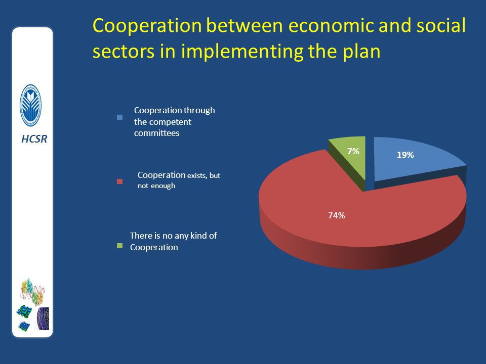 Cooperation between economic and social sectors in implementing the plan HCSR Cooperation through the competent committees Cooperation exists, but not enough There is no any kind of Cooperation HCSR