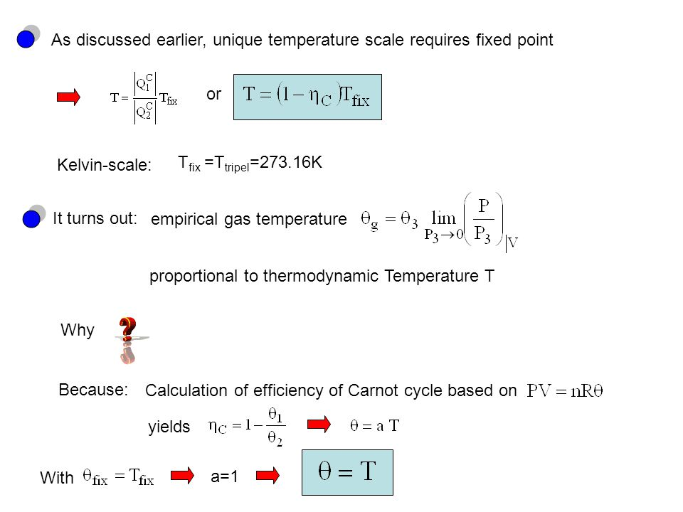 As discussed earlier, unique temperature scale requires fixed point or Kelvin-scale: T fix =T tripel =273.16K It turns out: proportional to thermodynamic Temperature T empirical gas temperature Why Because: Calculation of efficiency of Carnot cycle based on yields With a=1