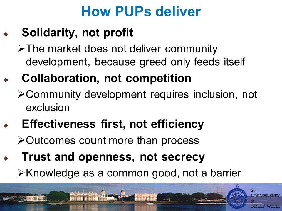 How PUPs deliver  Solidarity, not profit  The market does not deliver community development, because greed only feeds itself  Collaboration, not competition  Community development requires inclusion, not exclusion  Effectiveness first, not efficiency  Outcomes count more than process  Trust and openness, not secrecy  Knowledge as a common good, not a barrier